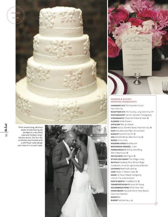 Carmen Santorelli featured in The Knot NY Magazine